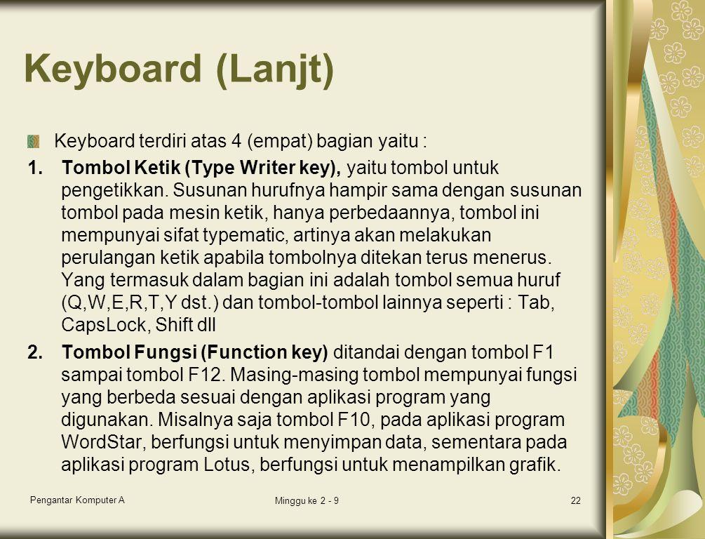 Keyboard (Lanjt) Keyboard terdiri atas 4 (empat) bagian yaitu :
