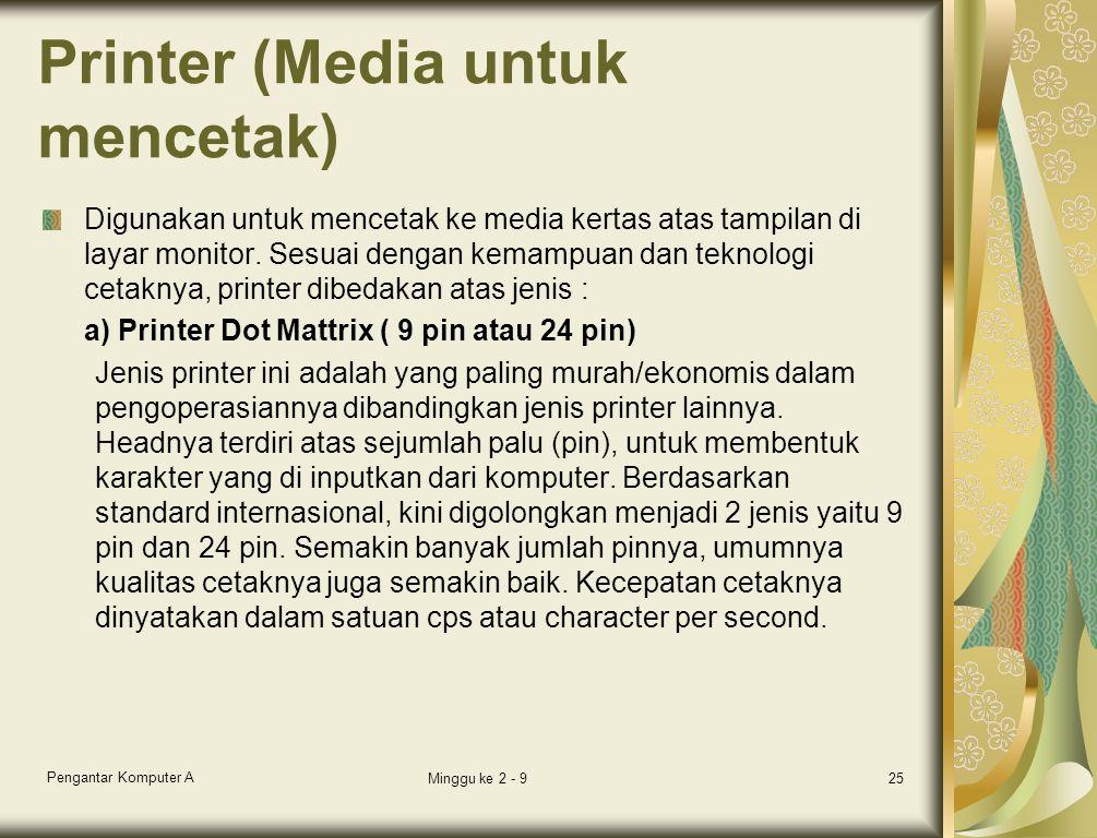 Printer (Media untuk mencetak)
