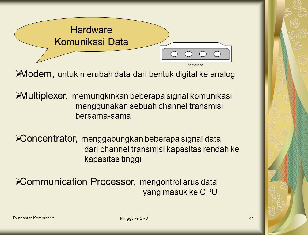 Modem, untuk merubah data dari bentuk digital ke analog