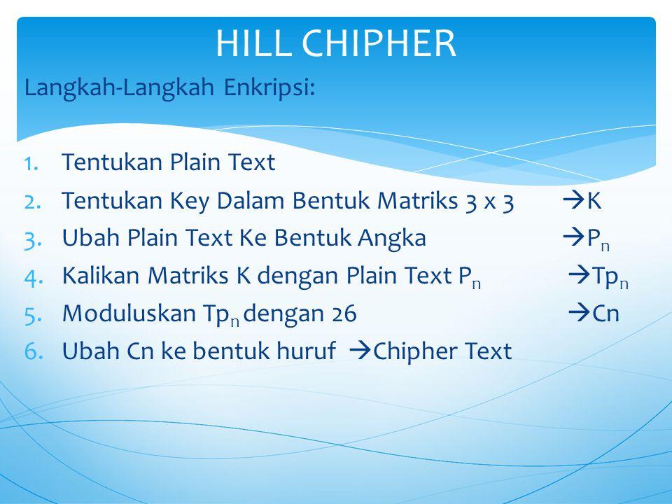 HILL CHIPHER Langkah-Langkah Enkripsi: Tentukan Plain Text