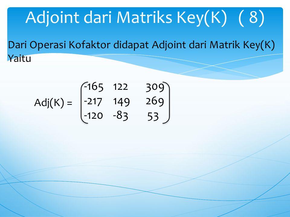 Adjoint dari Matriks Key(K) ( 8)