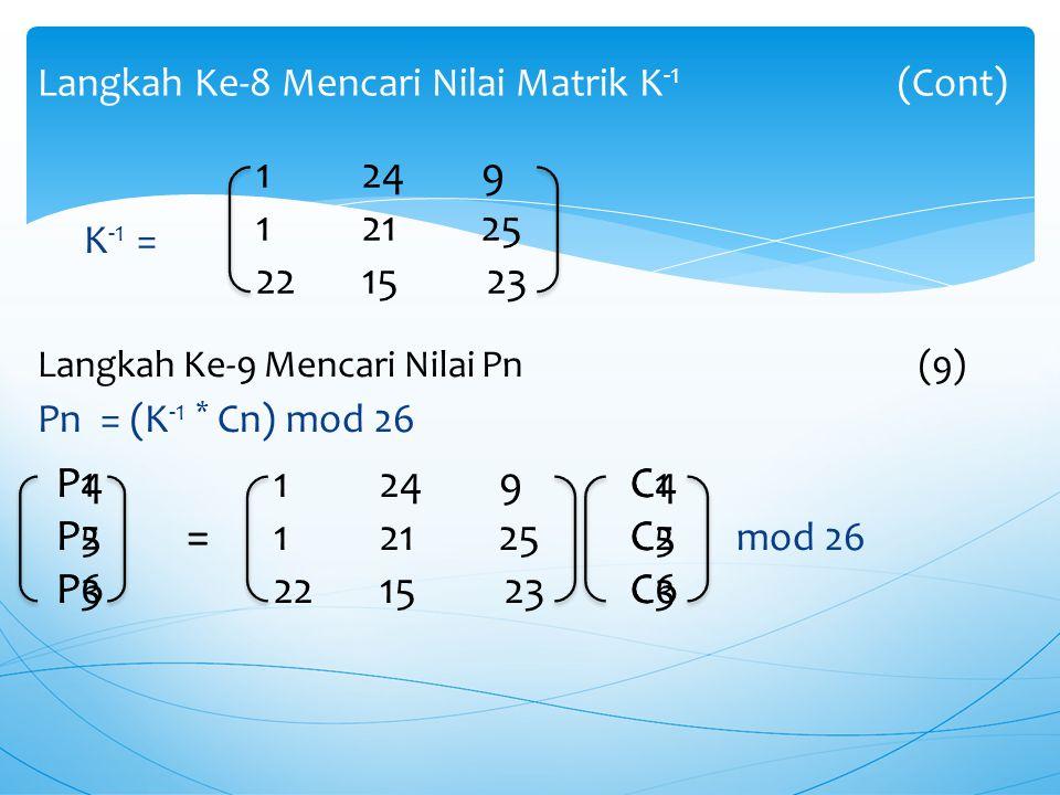 Langkah Ke-8 Mencari Nilai Matrik K-1 (Cont)