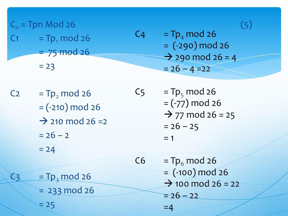 Cn = Tpn Mod 26 (5) C1 = Tp1 mod 26 = 75 mod 26 = 23 C2 = Tp2 mod 26 = (-210) mod 26  210 mod 26 =2 = 26 – 2 = 24 C3 = Tp3 mod 26 = 233 mod 26 = 25