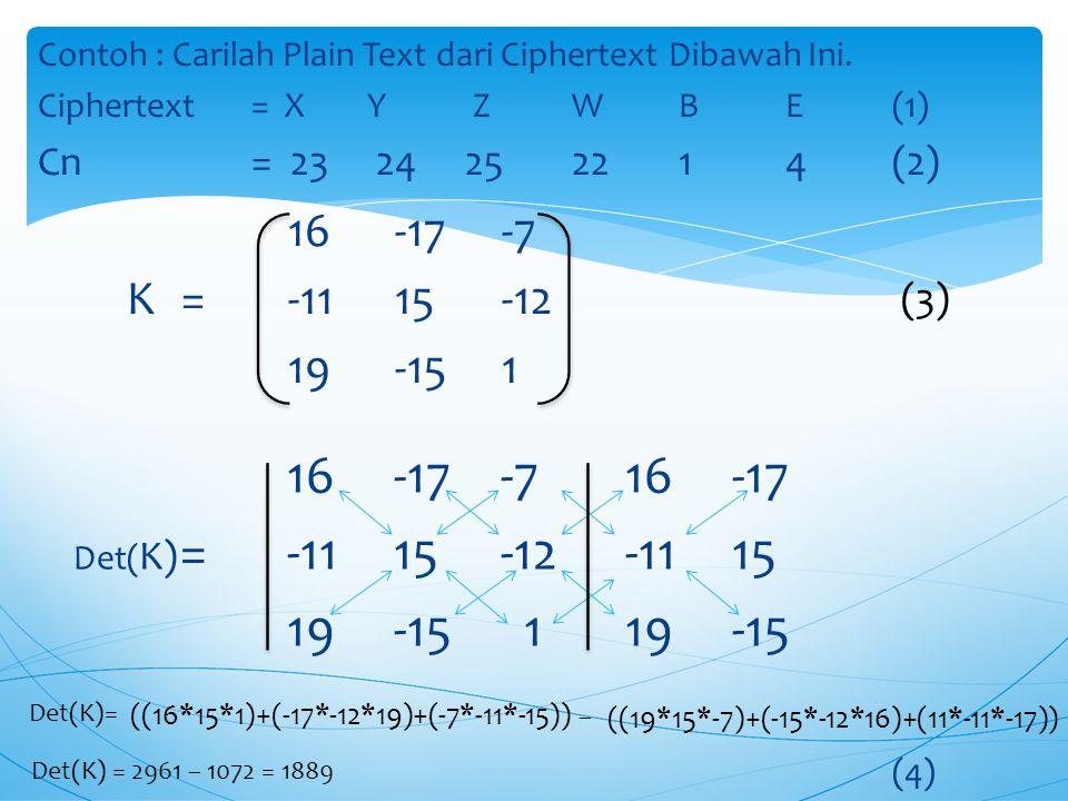 Contoh : Carilah Plain Text dari Ciphertext Dibawah Ini.