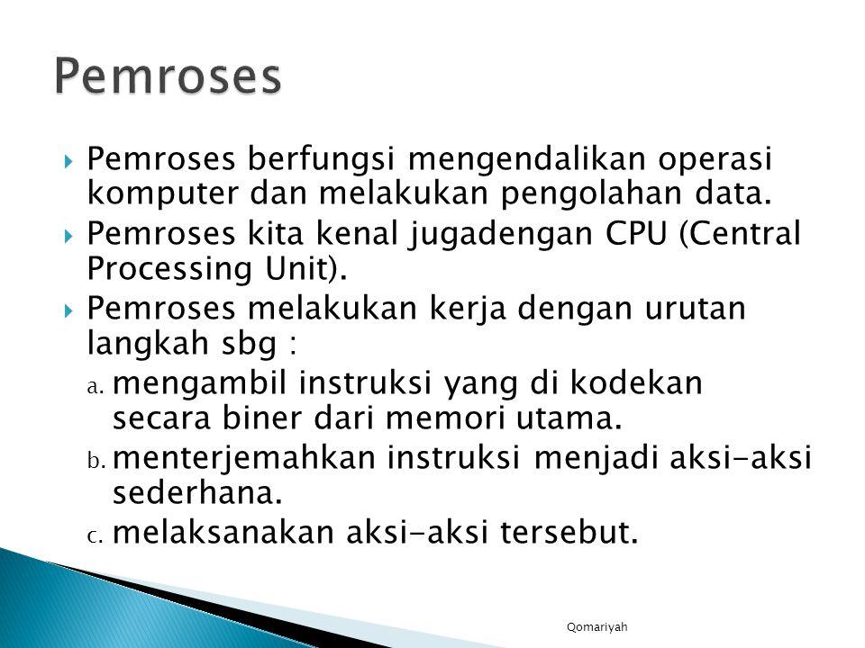 Pemroses Pemroses berfungsi mengendalikan operasi komputer dan melakukan pengolahan data.