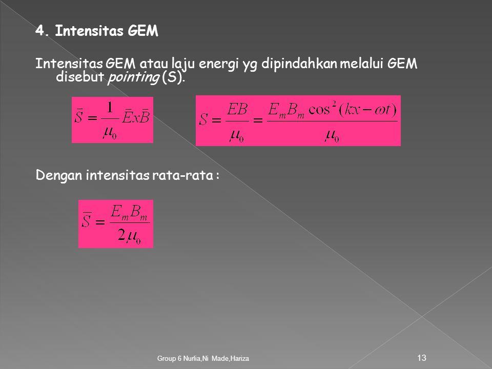 Dengan intensitas rata-rata :