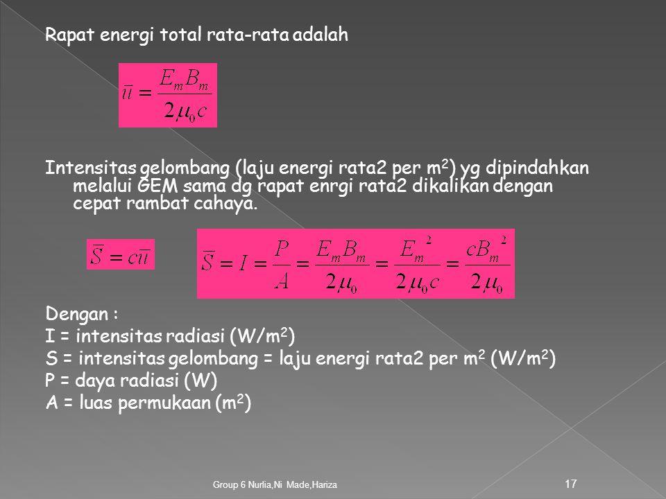 Rapat energi total rata-rata adalah