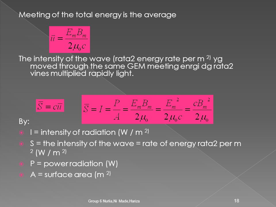 Meeting of the total energy is the average