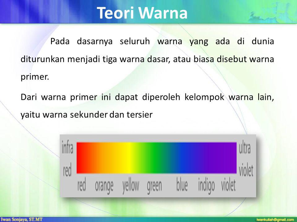 Teori Warna Pada dasarnya seluruh warna yang ada di dunia diturunkan menjadi tiga warna dasar, atau biasa disebut warna primer.