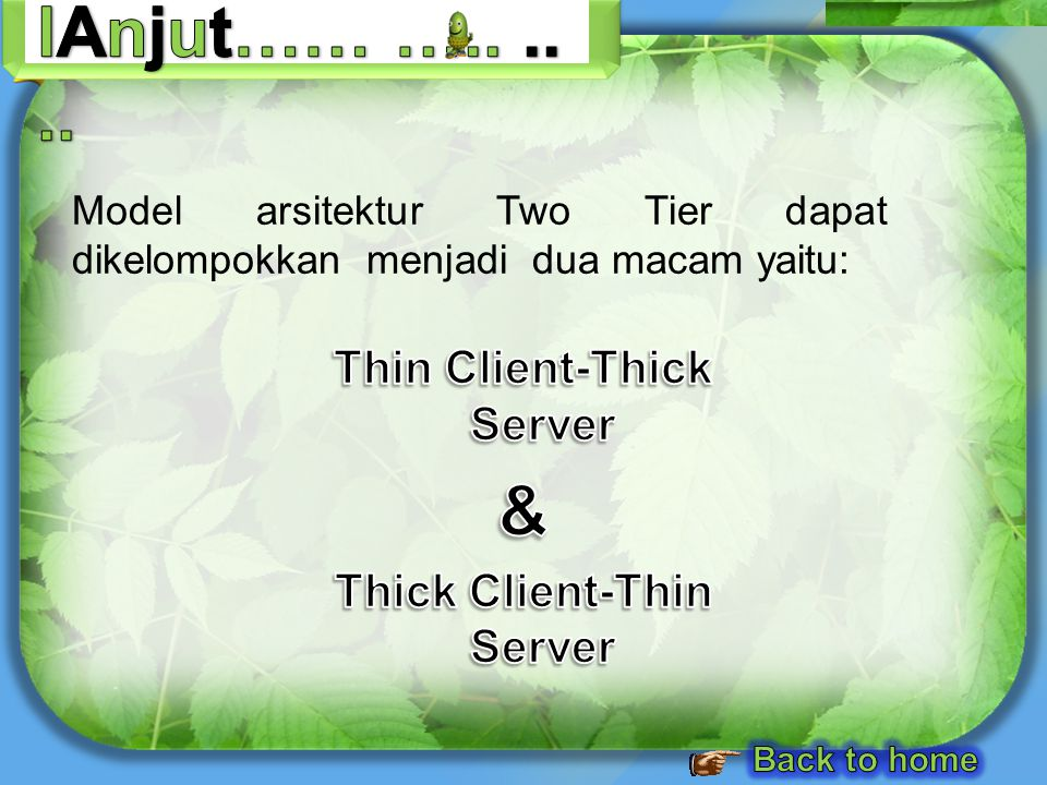 Thin Client-Thick Server Thick Client-Thin Server