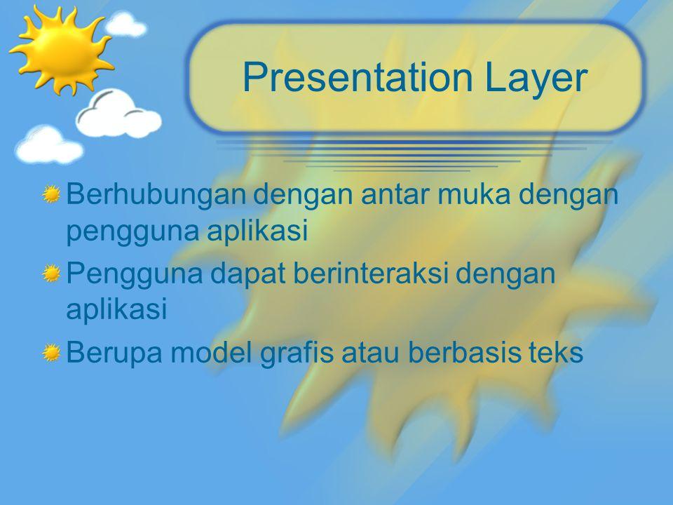 Presentation Layer Berhubungan dengan antar muka dengan pengguna aplikasi. Pengguna dapat berinteraksi dengan aplikasi.