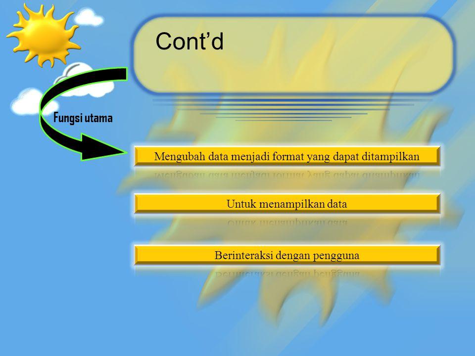 Cont'd Fungsi utama. Mengubah data menjadi format yang dapat ditampilkan. Untuk menampilkan data.