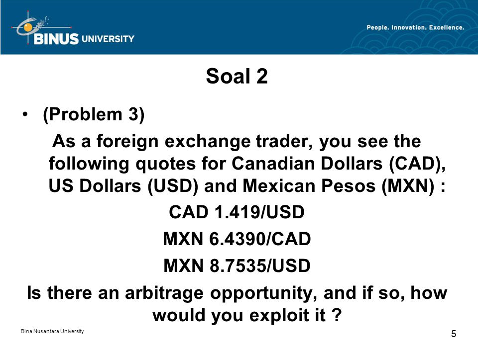 Soal 2 (Problem 3) As a foreign exchange trader, you see the following quotes for Canadian Dollars (CAD), US Dollars (USD) and Mexican Pesos (MXN) :