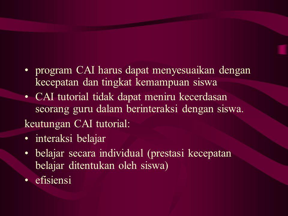 program CAI harus dapat menyesuaikan dengan kecepatan dan tingkat kemampuan siswa