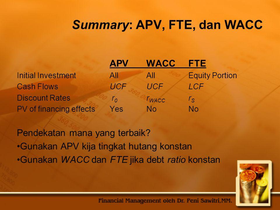 Summary: APV, FTE, dan WACC