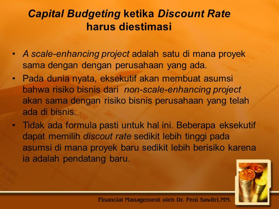 Capital Budgeting ketika Discount Rate harus diestimasi