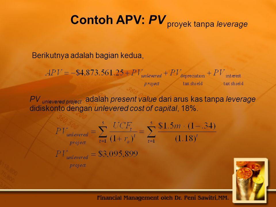 Contoh APV: PV proyek tanpa leverage