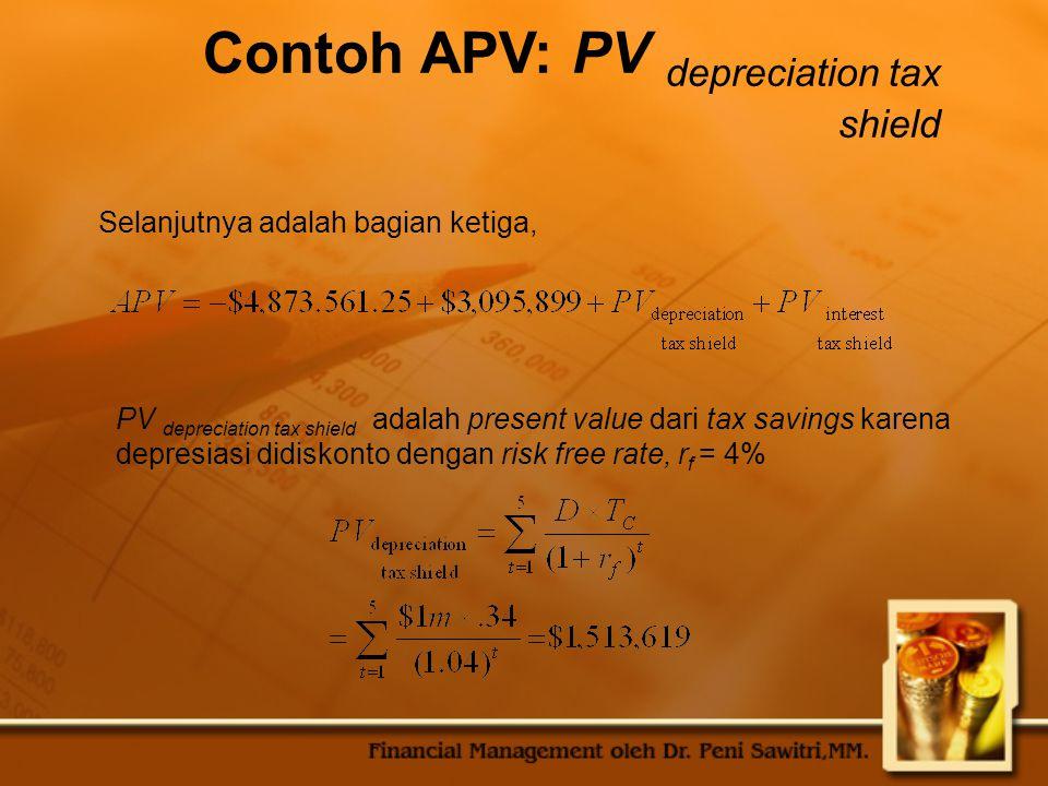 Contoh APV: PV depreciation tax shield
