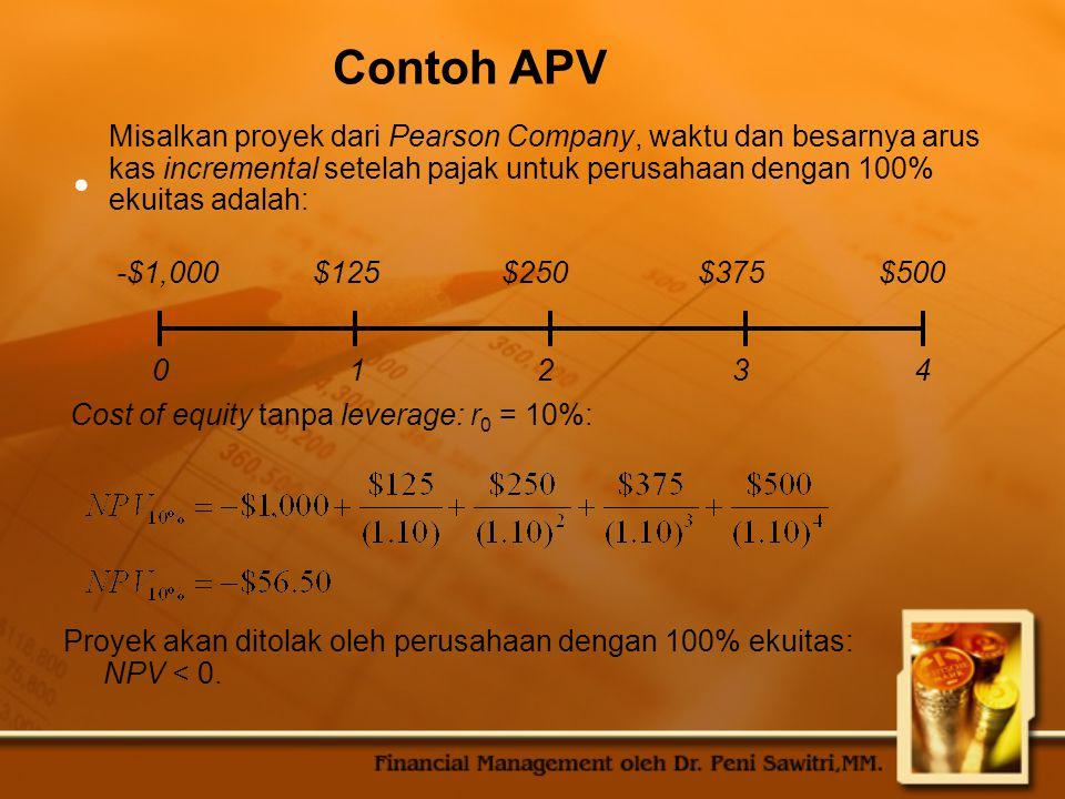 Contoh APV Misalkan proyek dari Pearson Company, waktu dan besarnya arus kas incremental setelah pajak untuk perusahaan dengan 100% ekuitas adalah: