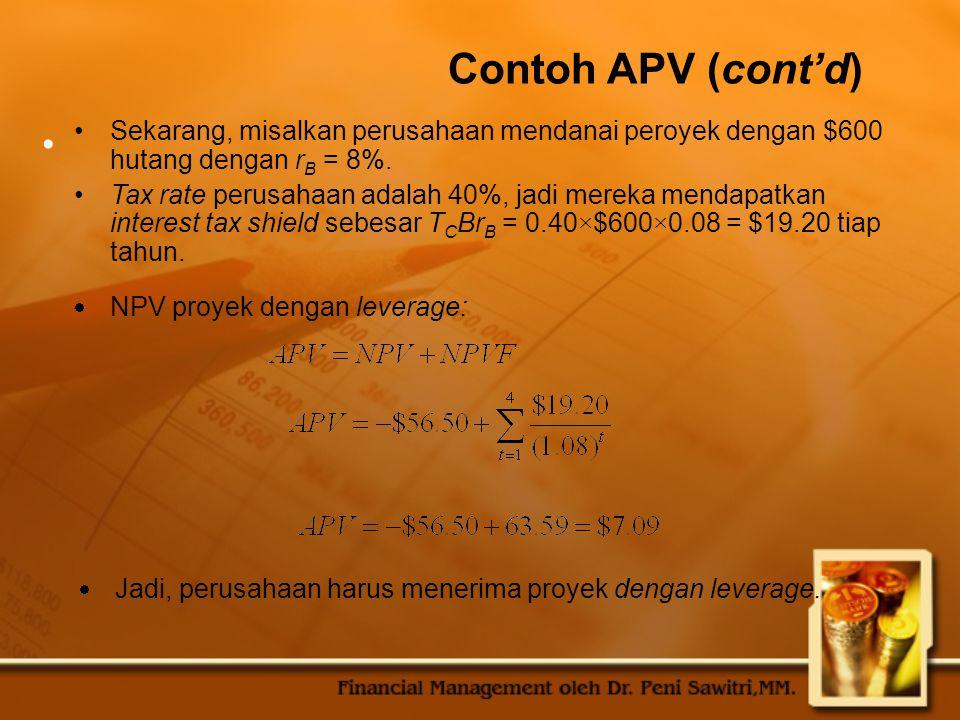 Contoh APV (cont'd) Sekarang, misalkan perusahaan mendanai peroyek dengan $600 hutang dengan rB = 8%.
