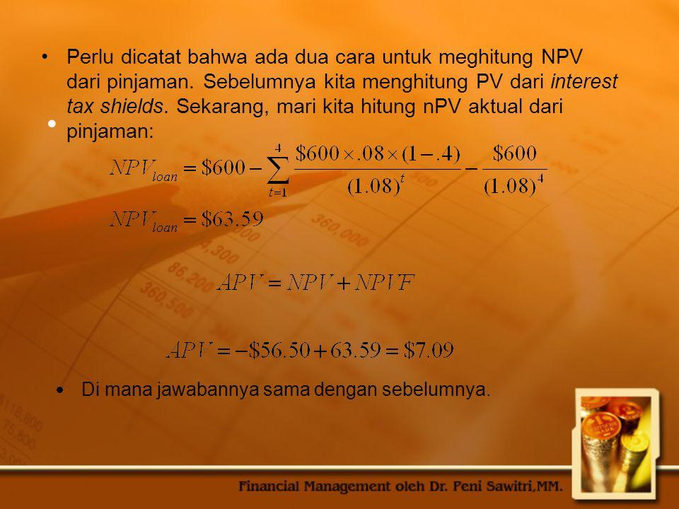 Perlu dicatat bahwa ada dua cara untuk meghitung NPV dari pinjaman