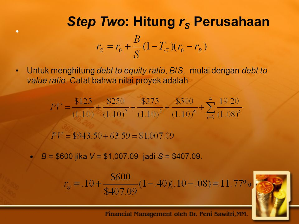 Step Two: Hitung rS Perusahaan