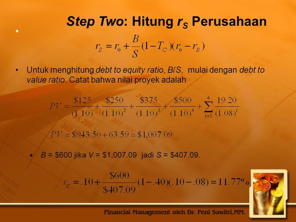 Step Two: Hitung rS Perusahaan