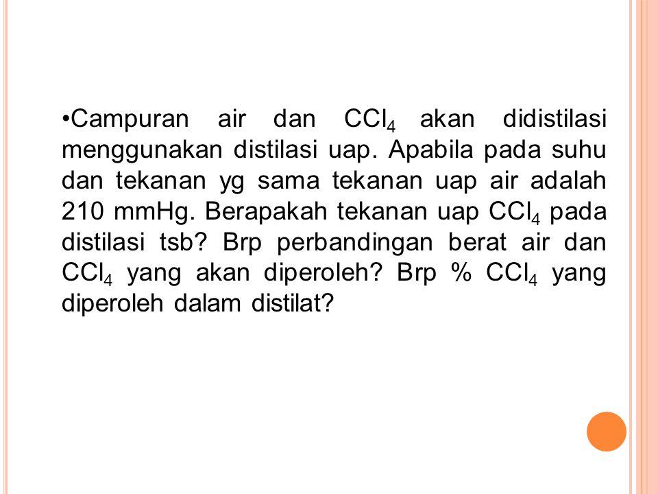 Campuran air dan CCl4 akan didistilasi menggunakan distilasi uap