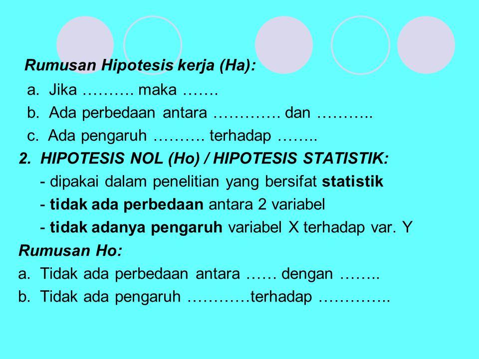 Rumusan Hipotesis kerja (Ha):