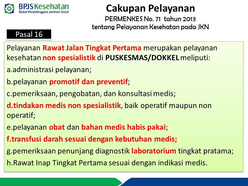 PERMENKES No. 71 tahun 2013 tentang Pelayanan Kesehatan pada JKN