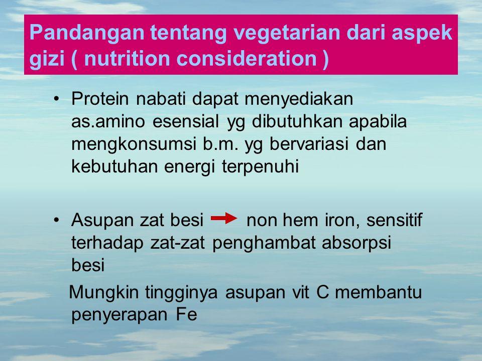 Pandangan tentang vegetarian dari aspek gizi ( nutrition consideration )