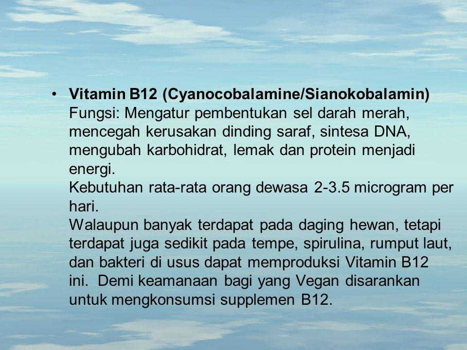 Vitamin B12 (Cyanocobalamine/Sianokobalamin) Fungsi: Mengatur pembentukan sel darah merah, mencegah kerusakan dinding saraf, sintesa DNA, mengubah karbohidrat, lemak dan protein menjadi energi.