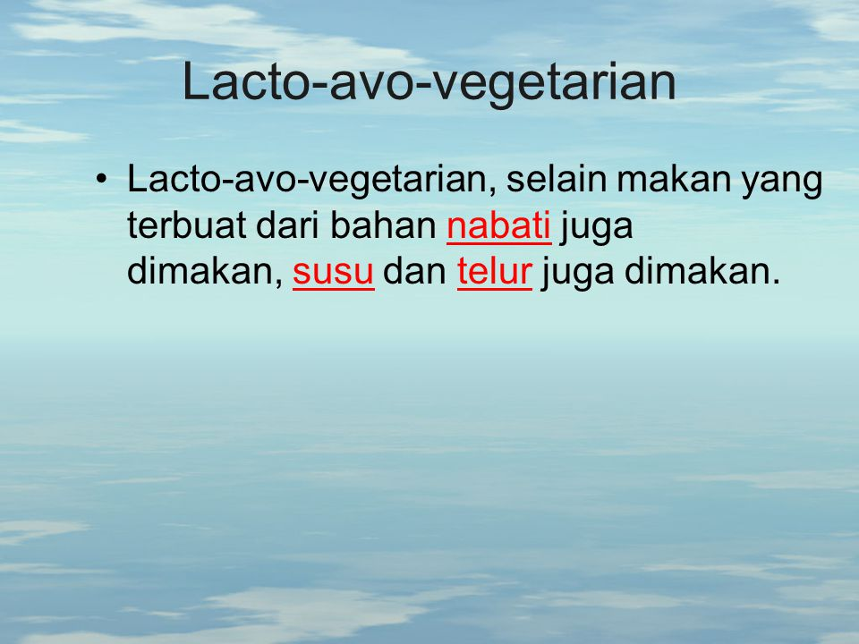Lacto-avo-vegetarian