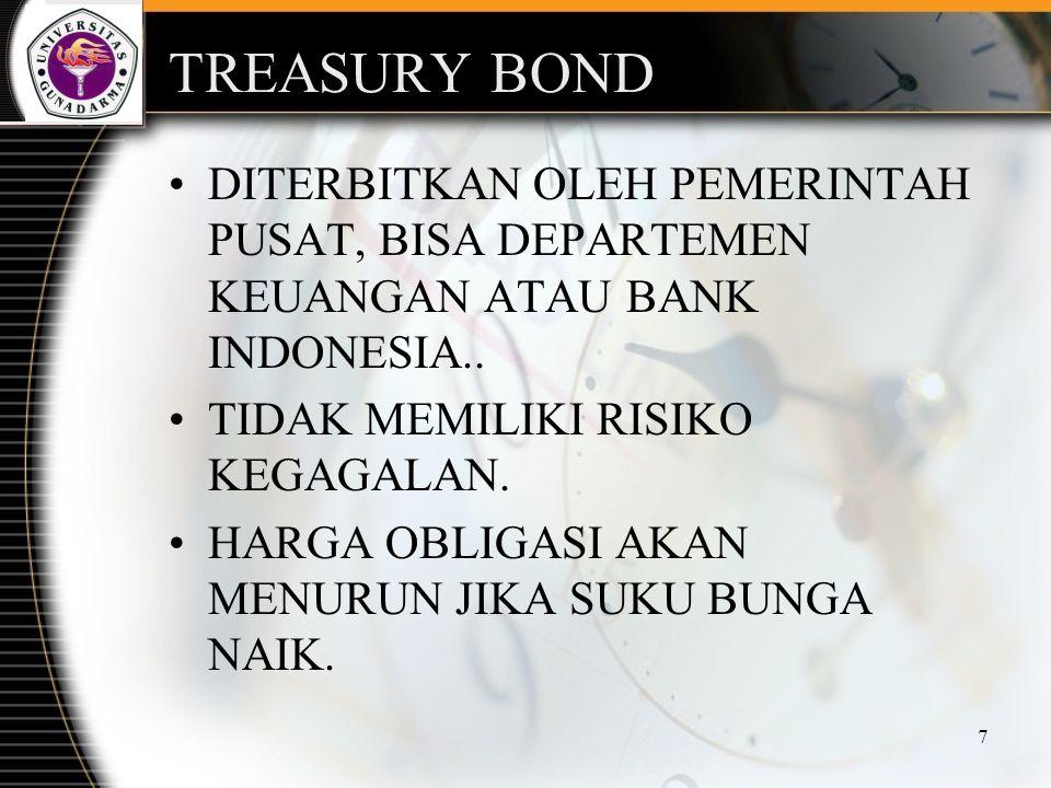 TREASURY BOND DITERBITKAN OLEH PEMERINTAH PUSAT, BISA DEPARTEMEN KEUANGAN ATAU BANK INDONESIA.. TIDAK MEMILIKI RISIKO KEGAGALAN.