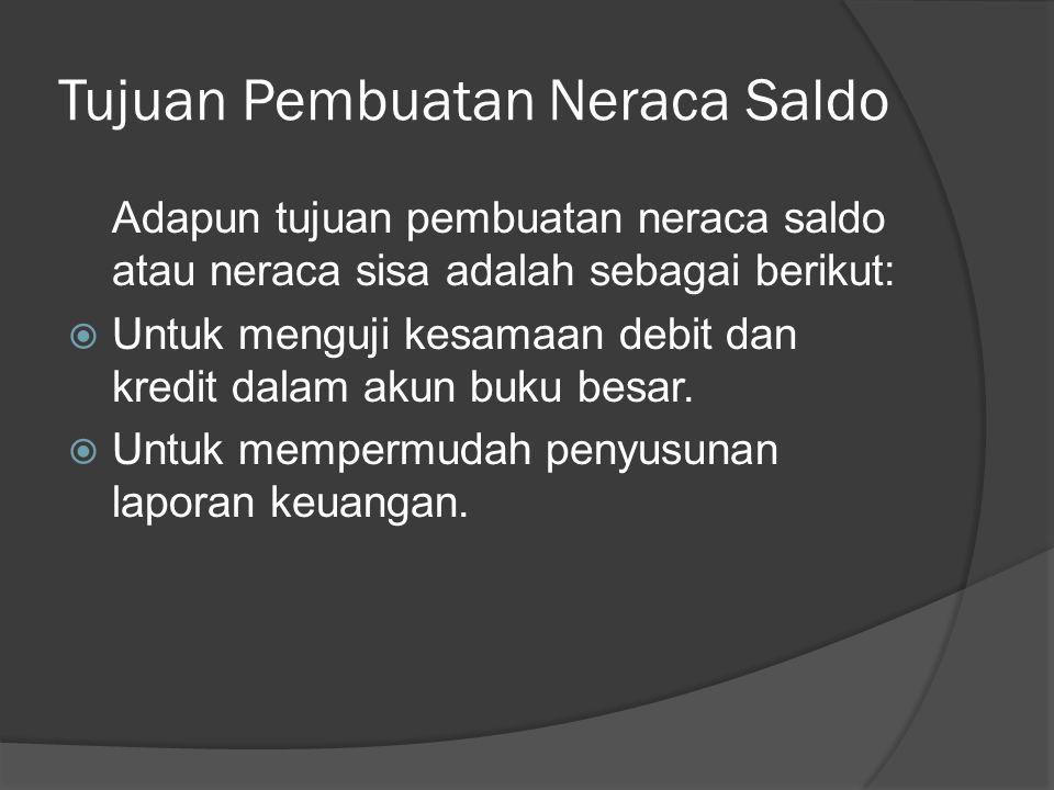 Tujuan Pembuatan Neraca Saldo