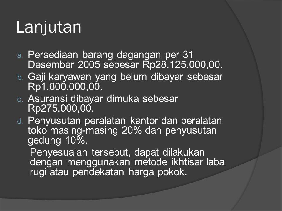 Lanjutan Persediaan barang dagangan per 31 Desember 2005 sebesar Rp28.125.000,00. Gaji karyawan yang belum dibayar sebesar Rp1.800.000,00.