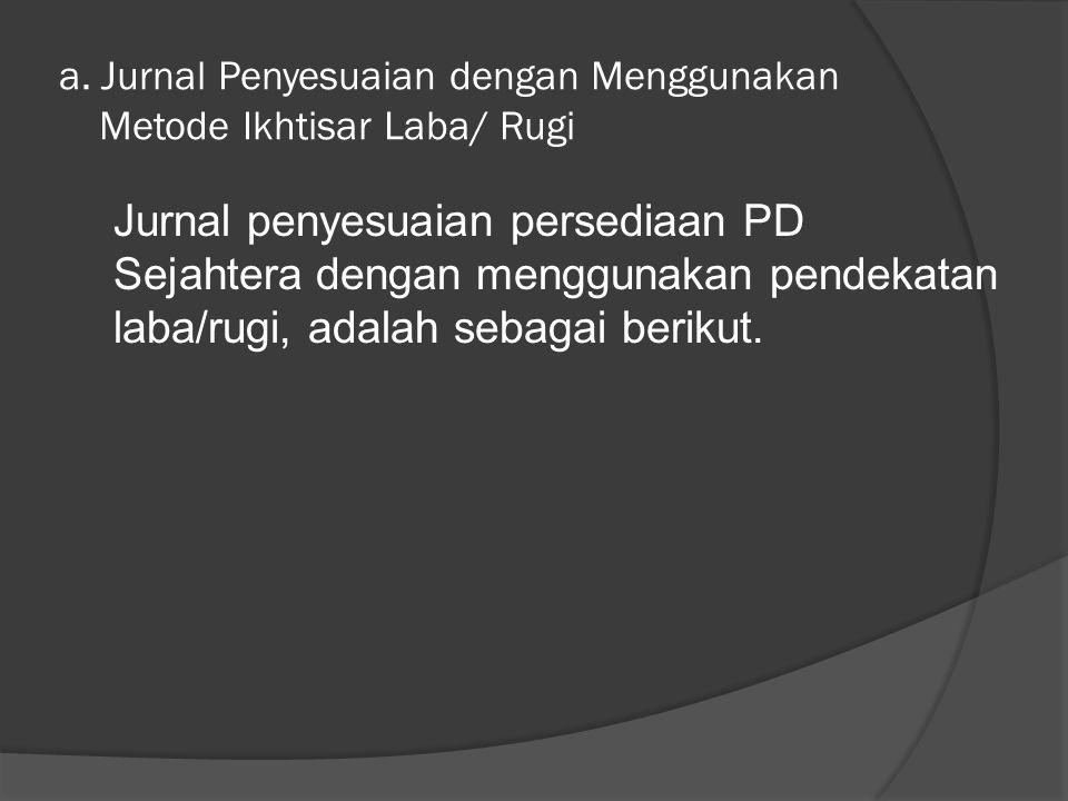 a. Jurnal Penyesuaian dengan Menggunakan Metode Ikhtisar Laba/ Rugi