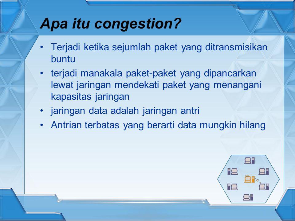 Apa itu congestion Terjadi ketika sejumlah paket yang ditransmisikan buntu.