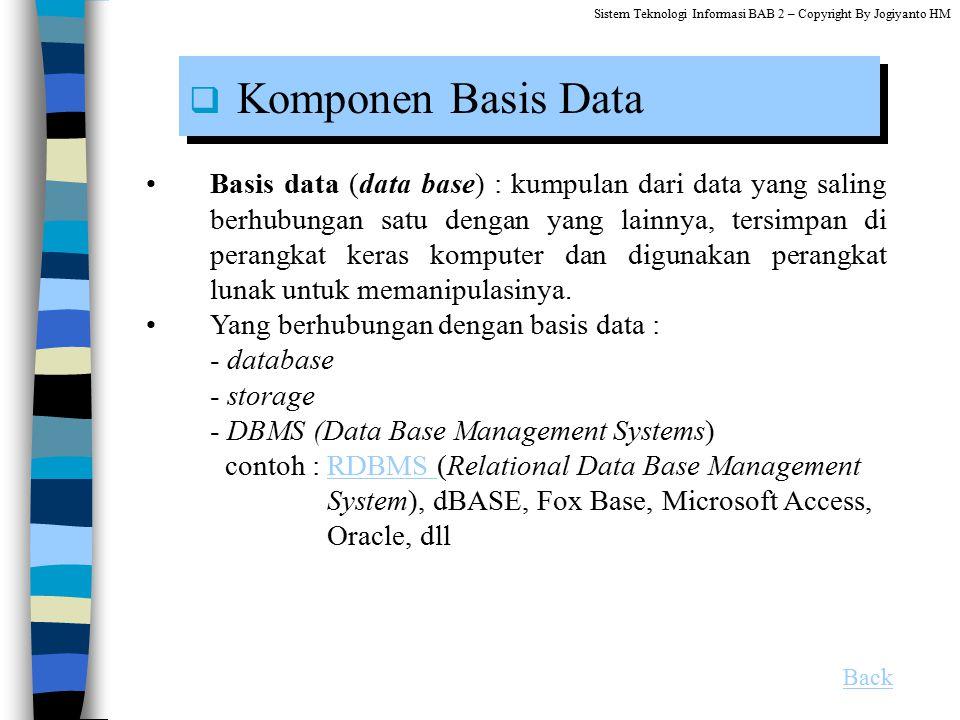 Sistem Teknologi Informasi BAB 2 – Copyright By Jogiyanto HM