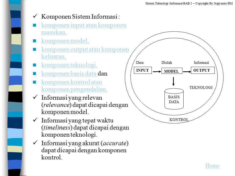 Komponen Sistem Informasi : komponen input atau komponen masukan,