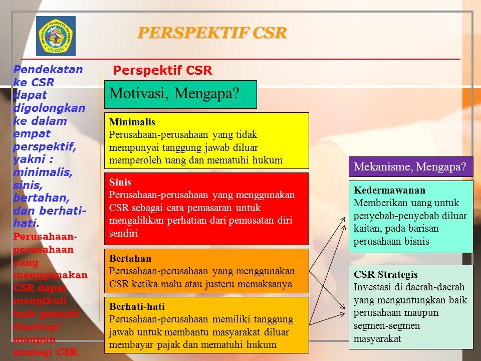 PERSPEKTIF CSR Motivasi, Mengapa Perspektif CSR Mekanisme, Mengapa