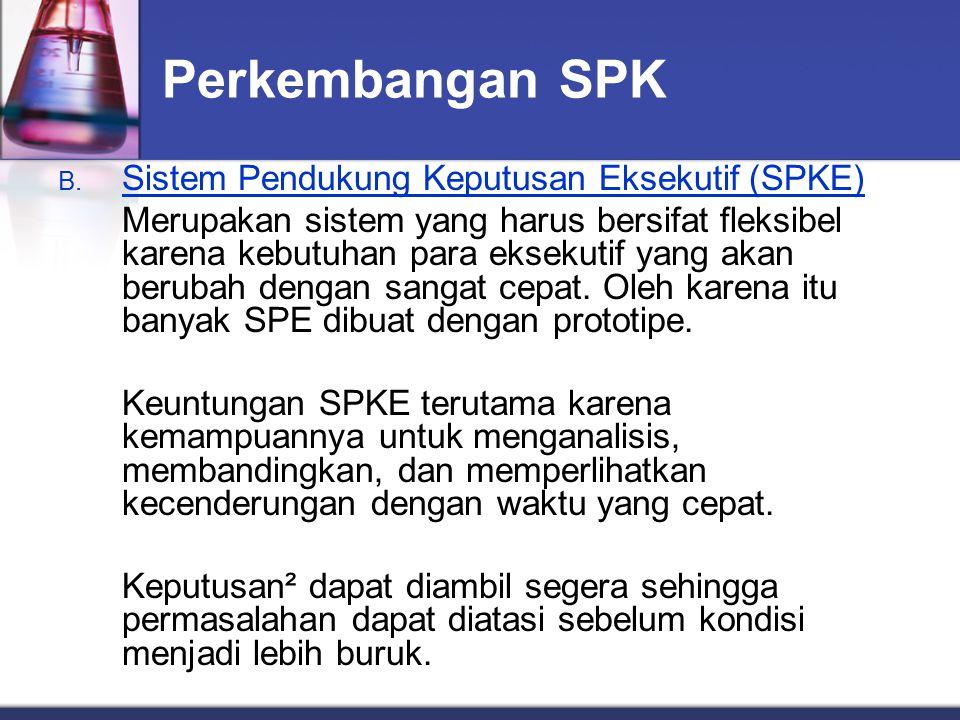 Perkembangan SPK Sistem Pendukung Keputusan Eksekutif (SPKE)