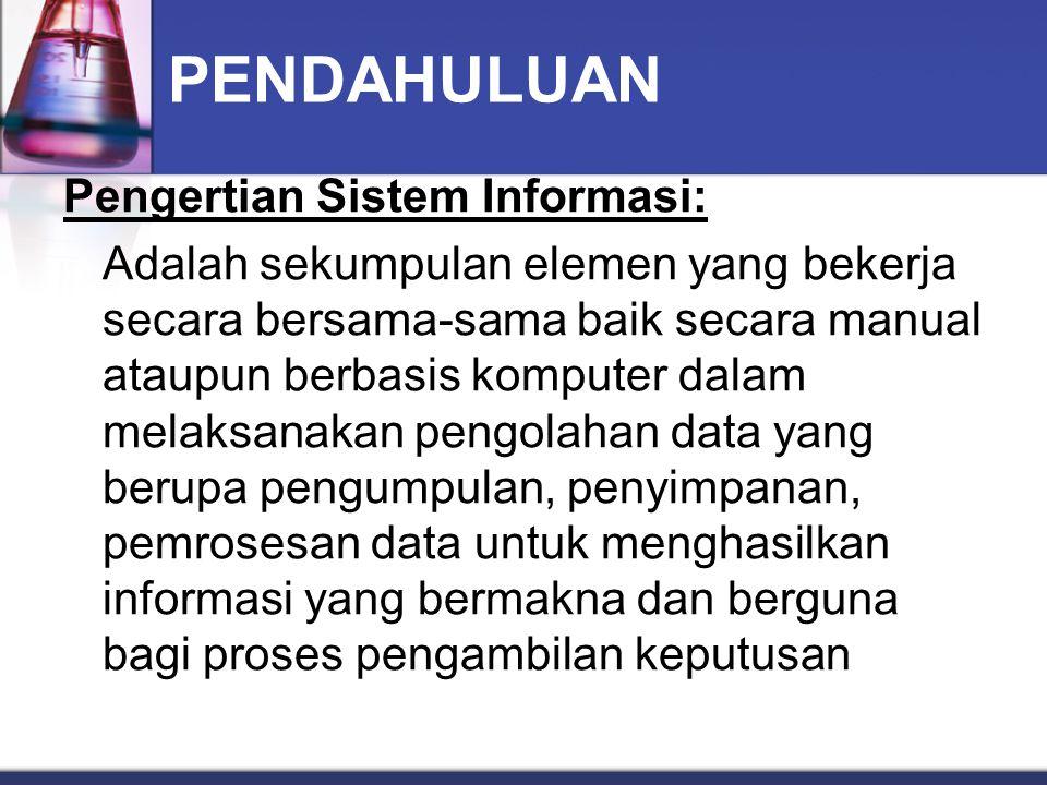 PENDAHULUAN Pengertian Sistem Informasi: