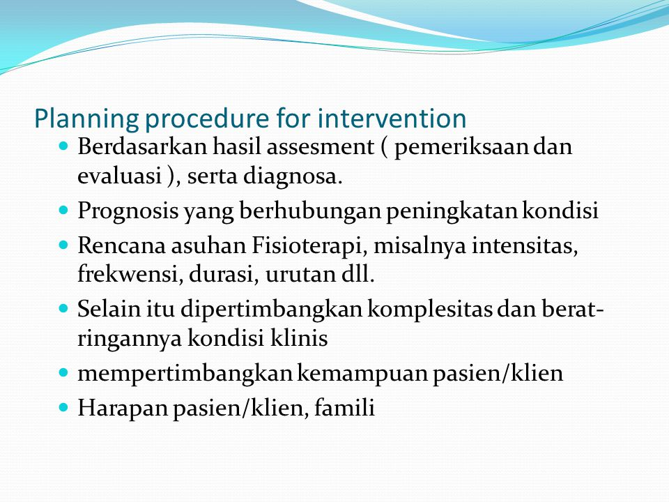 Planning procedure for intervention