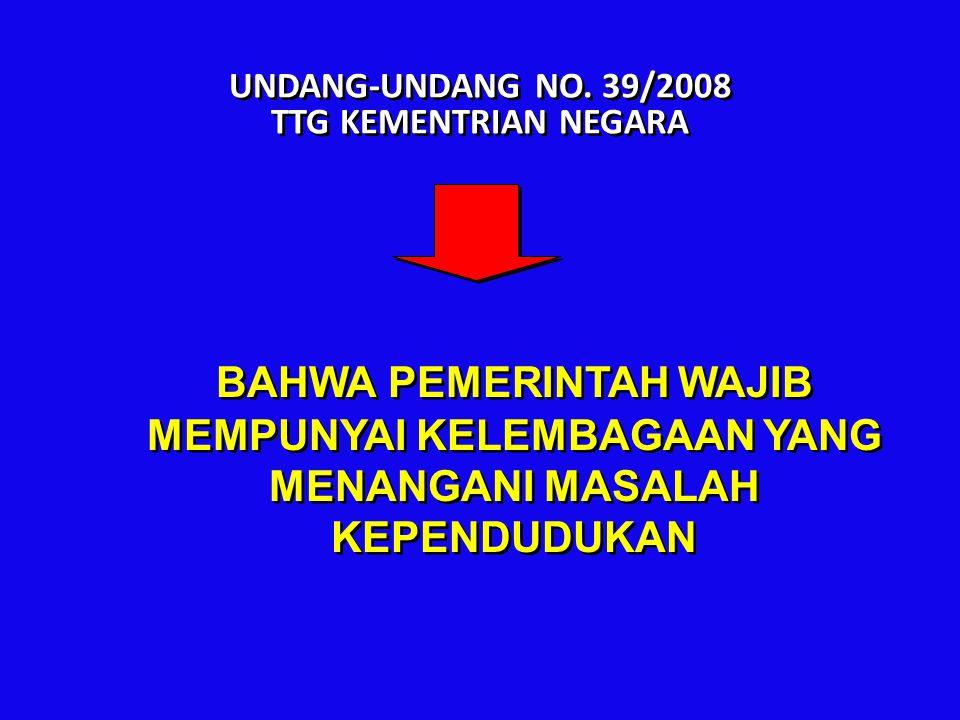 UNDANG-UNDANG NO. 39/2008 TTG KEMENTRIAN NEGARA