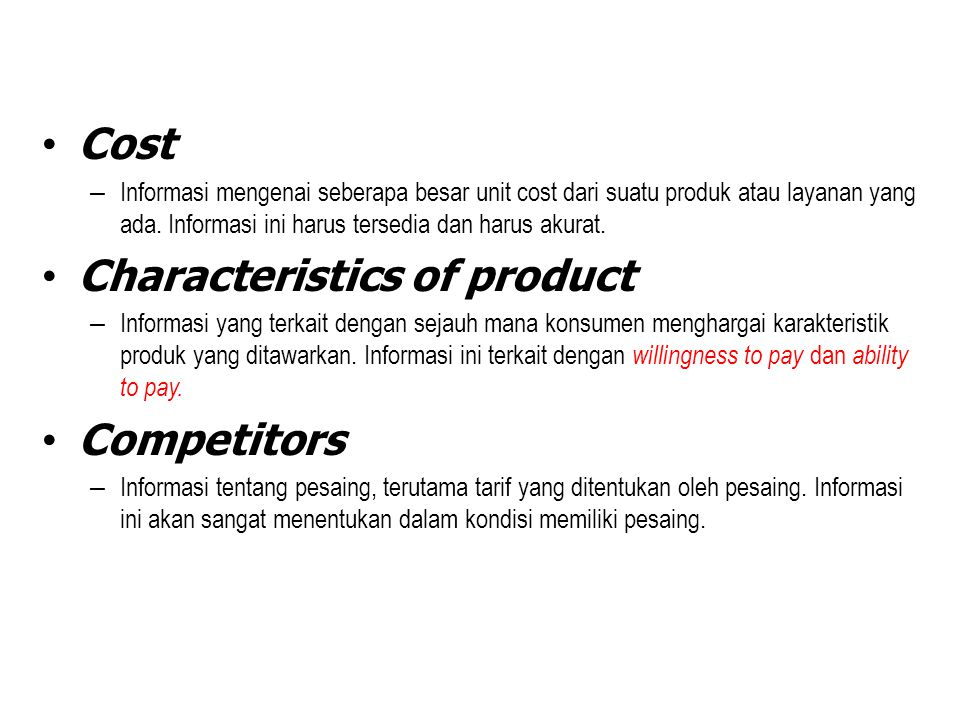 Characteristics of product