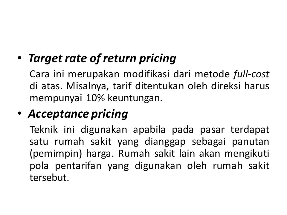 Target rate of return pricing