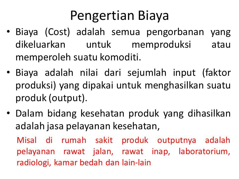 Pengertian Biaya Biaya (Cost) adalah semua pengorbanan yang dikeluarkan untuk memproduksi atau memperoleh suatu komoditi.