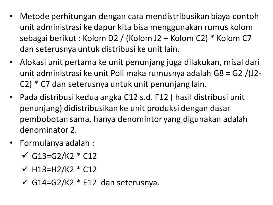 Metode perhitungan dengan cara mendistribusikan biaya contoh unit administrasi ke dapur kita bisa menggunakan rumus kolom sebagai berikut : Kolom D2 / (Kolom J2 – Kolom C2) * Kolom C7 dan seterusnya untuk distribusi ke unit lain.