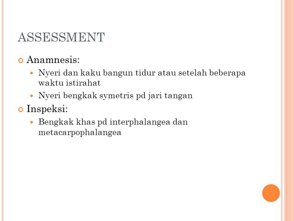 ASSESSMENT Anamnesis: Inspeksi: